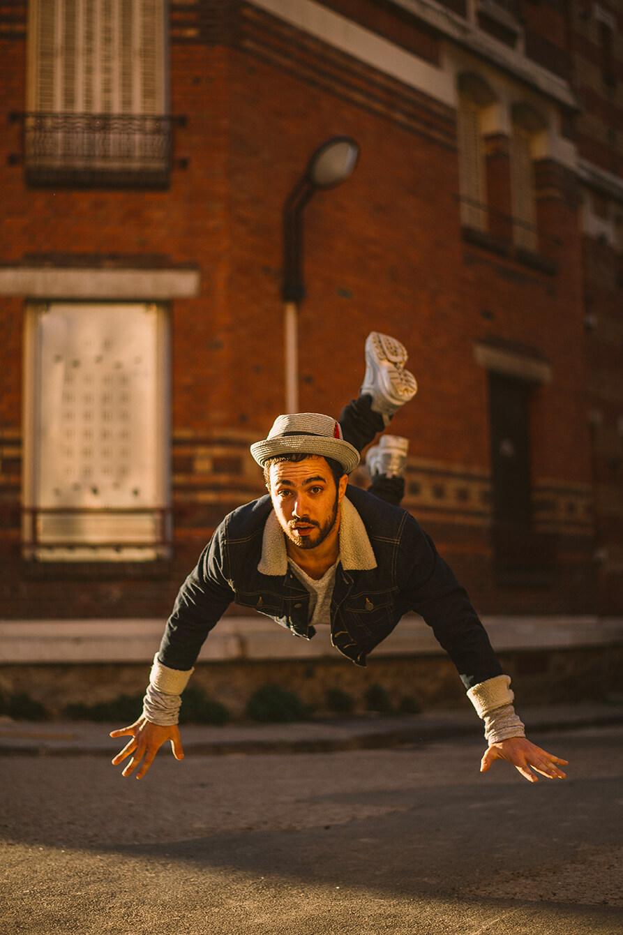 Photographie de danse de Bboy Kicker par Laura Van Puymbroeck